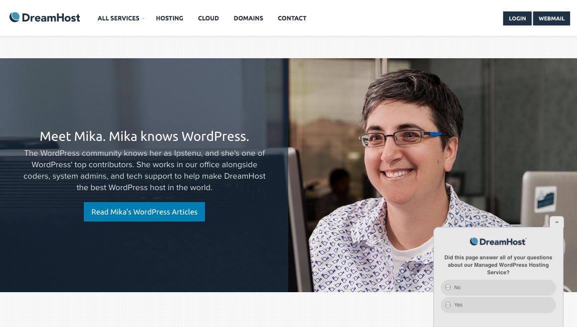 Dreamhost の Web サイトで大きく紹介されている Mika さん。